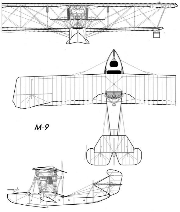 Компоновачная схема гидросамолета М-9