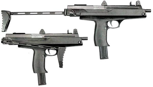 Пистолет-пулемет АЕК-918 со сложенным и откинутым прикладом (вид справа). Видна защита, фиксирующая приклад