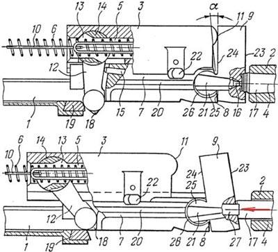 схема из патента на систему затвора Барышева