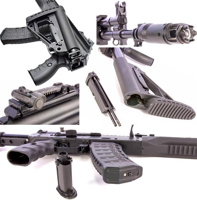 Приклад регулируемый, складной на левую сторону; Пламегаситель байонетного типа, с устройством для вышибания замков; Целик регулируется как по вертикали так и по горизонтали; Пенал с разборным шомполом находится прикладе; Масленка расположена в пистолетной рукоятке