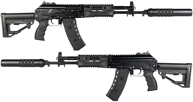 АК-12 с прибором малошумной и беспламенной стрельбы