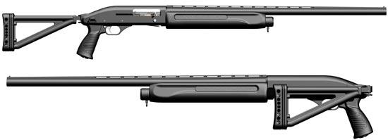 МР-153 со складывающимся прикладом и пистолетной ручкой