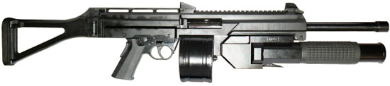 LW-3 с барабанным магазином и 38-мм подствольным гранатометом для «несмертельных» боеприпасов