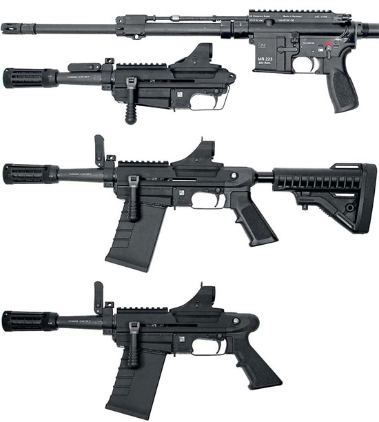 M26 MASS в конфигурации Attached (сверху), Stand Alone (в середине), Pistol (снизу)