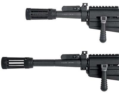 Ограничитель ствола в крайнем заднем (сверху) и переднем (снизу) положении