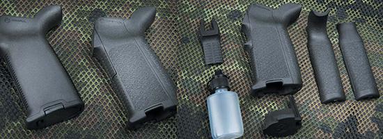 Пистолетная рукоятка Magpul MOE+ покрыта резиной, а Magpul MIAD имеет модульную конструкцию. Обе позволяют использовать внутреннюю полость для хранения аксессуаров