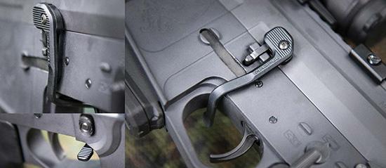 Рычаг Magpul B.A.D. помогает управлять затворной задержкой указательным пальцем правой руки, не отрывая ее от пистолетной рукоятки — причем не только сбрасывать, но и ставить затвор на задержку (даже без пустого магазина в шахте)