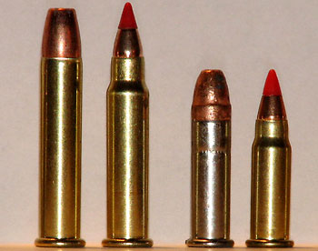 .22 WMR, .17 HMR, .22 LR Stinger, .17 HM 2 (слева-направо)