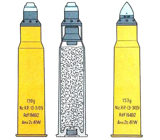 28/20x188 с осколочным (слева) и бронебойным (справа) снарядом