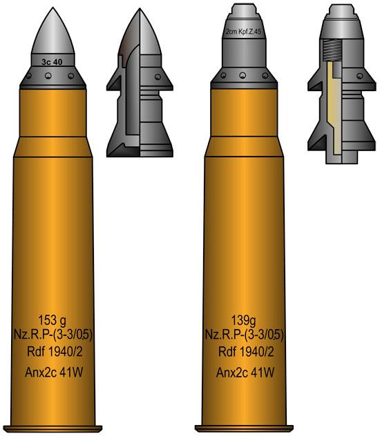 28/20x188 с бронебойным (слева) и осколочным (справа) снарядом