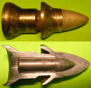 Бронебойный снаряд: общий вид (сверху) и в разрезе (снизу)