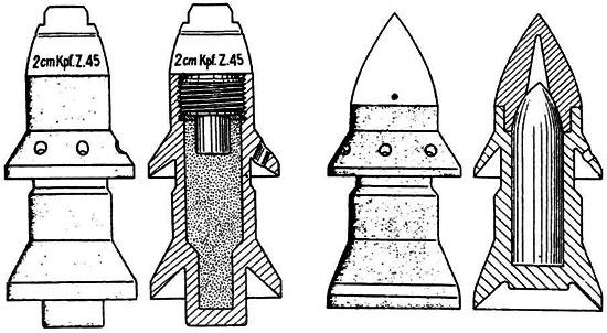 Общий вид и вид в разрезе осколочного (слева) и бронебойного (справа) снарядов