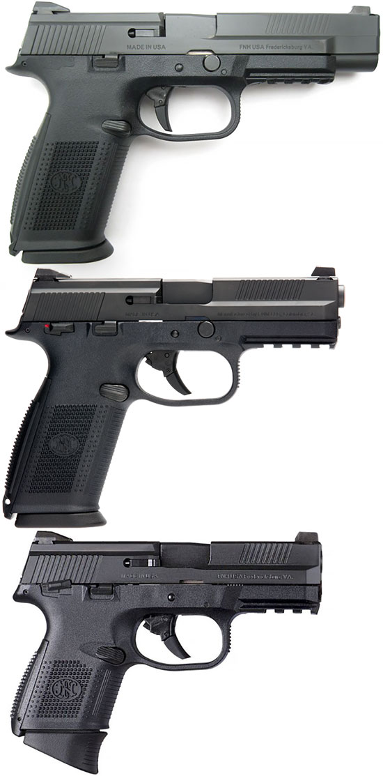 FNS-9 Long Slide, FNS-9, FNS-9 Compact (сверху - вниз)