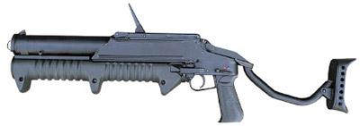 43-мм магазинный гранатомет ГМ-94 с откинутым плечевым упором (вид слева)