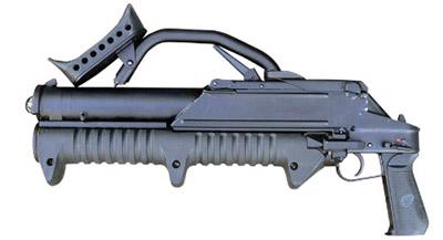 43-мм магазинный гранатомет ГМ-94 со сложенным плечевым упором (вид слева)