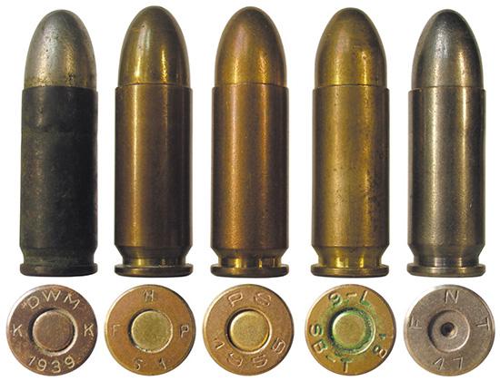 Варианты патронов 9х23 Largo: 1 — немецкого производства периода Гражданской войны; 2-4 — боевые патроны испанского производства; 5 — испанский учебный патрон