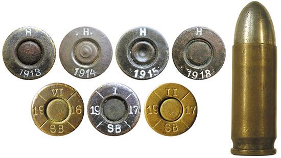Австро-венгерские патроны 9 mm M.12 (9 mm Steyr) производства Hirtenderger Patronenfabrik из г. Хиртенберга и Sellier&Bellot из г. Праги