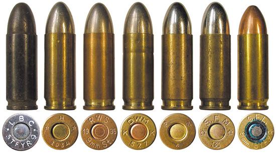 Патроны 9 mm Steyr различных производителей: 1, 7 — итальянские; 2 — австрийский; 3-4 — немецкие; 5 — бельгийский; 6 — французский