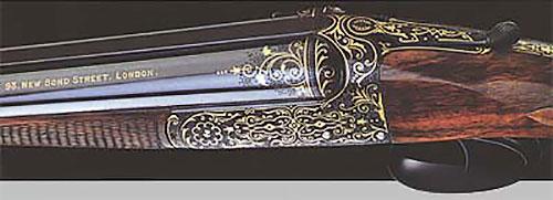 Двуствольный экспресс калибра .360 (№ 8376) с коробчатыми замками, стальными стволами, верхним ключом отпирания и орнаментальной инкрустацией золотом. Ружьё сделано в 1885 году.