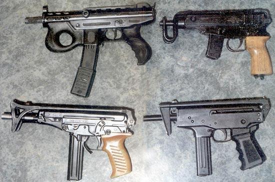 На фото сверху: современные пистолеты-пулеметы, стреляющие с переднего шептала: «Аграм-2000» (Хорватия), «Скорпион» (Чехословакия), «Кипарис», «Кедр» (Россия)