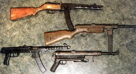 ПП времен второй мировой войны, которые сегодня можно отнести к ТПП (сверху вниз): ППШ-41 (СССР), МР-41 (Германия), ППС-43 (СССР), МР-40 (Германия). Все образцы стреляют с заднего шептала
