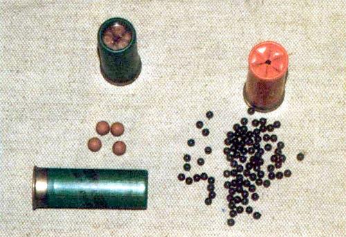Патроны 12-го калибра с травматическими элементами: слева – французский с резиновой картечью, справа – итальянский с пластиковой дробью