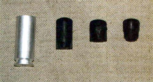 Патрон и варианты резиновых пуль к четырехзарядному бесствольному стреляющему устройству «Оса»