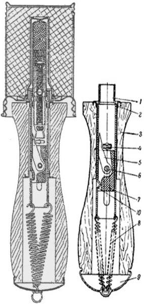 1 – трубка ударного механизма (подвижная); 2 – усиливающее кольцо; 3 – рукоятка; 4 – первый ручной предохранитель; 5 – жало; 6 – ось жала; 7 – ползун (пластмассовый); 8 – пружина; 9 – крышка; 10 – выступ трубки.