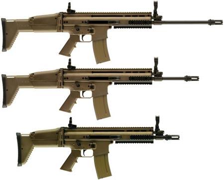 варианты SCAR-L / Mk.16 сверху-вниз с длинным стволом (SV) стандартным стволом (STD) коротким стволом для ближнего боя (CQC)