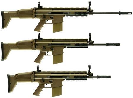 варианты SCAR-H / Mk.17 сверху-вниз с длинным стволом (SV) стандартным стволом (STD) коротким стволом для ближнего боя (CQC)
