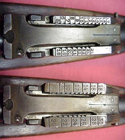 Прицел Steyr Mannlicher M1888 (сверху) и Steyr Mannlicher M1888-95 (снизу)