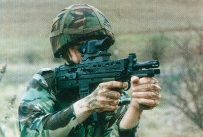 SA80 в варианте компактного карабина, разработанная в порядке частной инициативы и предназначенная для вооружения экипажей бронированных машин. Она так и не появилась