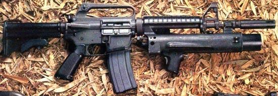 XM177E2 с установленным подствольным гранатометом