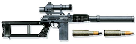 Снайперская винтовка ВСК-94 с оптическим прицелом ПКС-07, 9-мм патроны СП-5 и СП-6, Россия