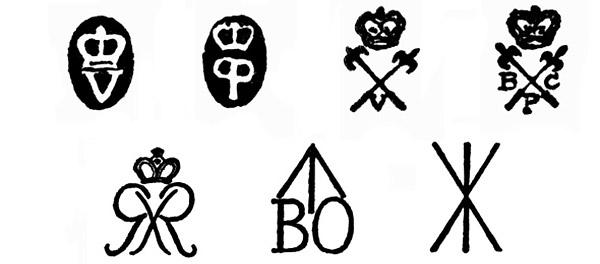 Основные виды клейм, наносившиеся на мушкеты: 1, 2 – клейма приёмщиков стволов лондонской приёмки (1 – осмотрено внешне, 2 – испытано стрельбой), 3, 4 – клейма приёмщиков стволов бирмингемской приёмки (3 – осмотрено внешне, 4 – испытано стрельбой), 5 – клеймо хранителя вооружений, 6 – клеймо палаты вооружений, 7 – знак палаты вооружений «устарело, признано негодным или продано»
