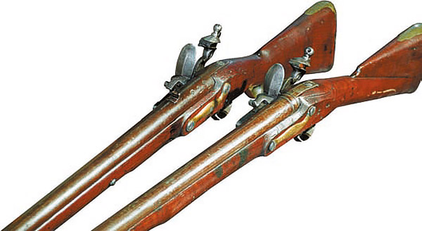 Два примера оксидировки стволов. Ранняя оксидировка (до 80-х годов XVIII века) отличалась слабой устойчивостью