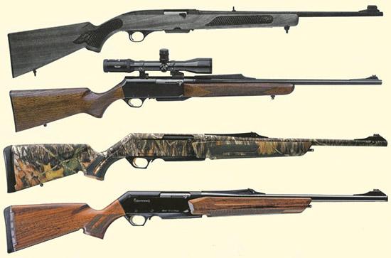 С отводом пороховых газов: Winchester 100 (вверху), изображенный здесь в исполнении Rifle, принадлежит к наиболее элегантным охотничьим самозарядным карабинам, которые когда-либо производились. Охотничья самозарядка Browning BAR характеризуется обилием различных вариантов. Второе оружие сверху - модель BAR MK II. Внизу два современных представителя семейства BAR в разных калибрах, Short Track и Long Track. Тогда как модель внизу представляет собой классическое исполнение с ложей из ореха, изображенная выше версия BAR поставляется полностью камуфлированной.