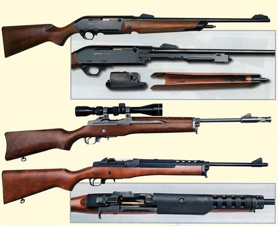 Вверху - Winchester SXR Vulkan. Ниже - дважды изображен Ruger Mini 14