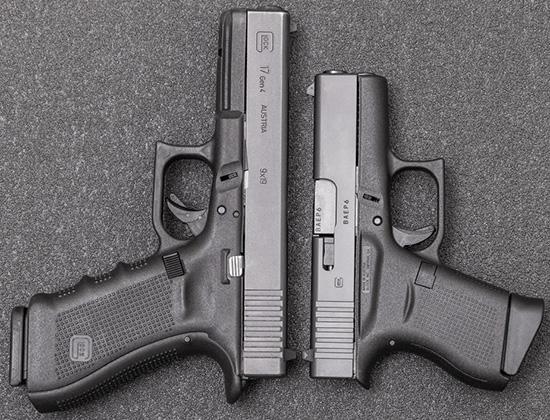 Стандартный Glock 17 и «малыш» Glock 43 —сравнение габаритов