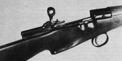 вид на затворную группу и ствольную коробку винтовки Годсала, затвор открыт