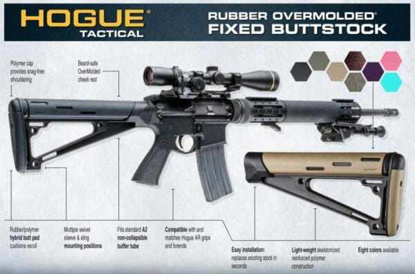 Hogue AR-15 M16 Rubber Overmolded Fixed Buttstock SPECS