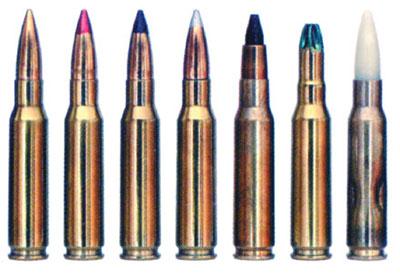 7,62х51 винтовочные патроны НАТО польского производства (слева направо): с обычной пулей; с трассирующей пулей «Т»; с бронебойной пулей «АР»; с бронебойно-зажигательной пулей «API»; с пулей уменьшенного пробивного действия (малорикошетной) «OR»; холостой; учебный