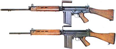 7,62-мм НАТО автоматические винтовки: снизу – FN FAL бельгийского производства, сверху – ее английский вариант L1A1