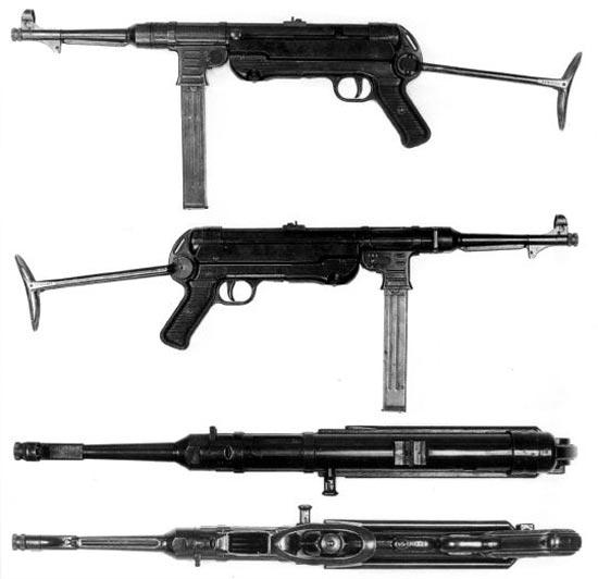 МР-40, 3-й серийный вариант. На гнезде магазина сделаны ребра жесткости; рукоятка со скобой - из листового металла (две штампованные половинки соединены в одну деталь); кодировка производителей auf43. Данный вариант отличала гайка на стволе только с двумя лысками под ключ. На корпусе стоит клеймо «SA» - Suomen Armeja, финская армия.