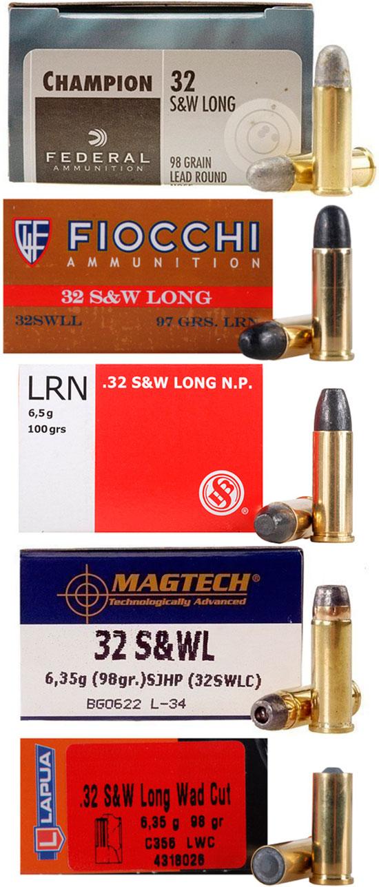 .32 Smith & Wesson Long различных производителей и снаряжения
