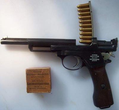 Mannlicher M1905 при заряжании, принятый на вооружение в Аргентине