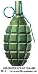 советская граната Ф-1 времен войны с запалом Кавешникова