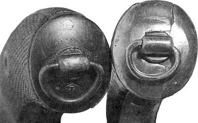 рукоятки нагана российского (слева) и бельгийского (справа) производства