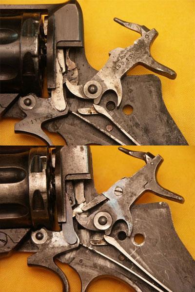 УСМ одинарного действия (вверху) УСМ двойного действия (внизу) используемые в револьверах Наган обр 1895 года
