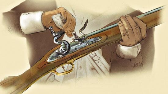 Французский ударный кремневый батарейный замок — верх эволюции кремневых систем. Именно ружье на его основе и стало и спытуемым номер один в «шведском конкурсе» (образец 1791 г.).